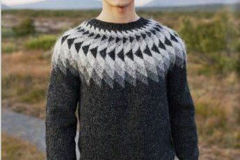 Мужской пуловер с круглой кокеткой